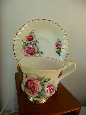 Vintage Royal Imperial Teacup & Saucer, Large Pink Roses