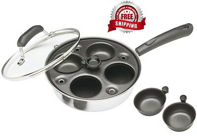 Kitchen Craft Induction Carbon Steel 4 Hole Egg Poacher Pan and Cups *BRAND NEW*