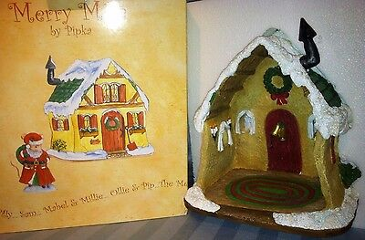 """Christmas Pipka 2002 8.5"""" Merry Mice Mouse House 40015 NEW in Box CUTE!!!"""