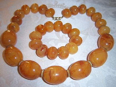 Vintage Egg Yolk Baltic Butterscotch Amber Large Bead Necklace Bracelet Set