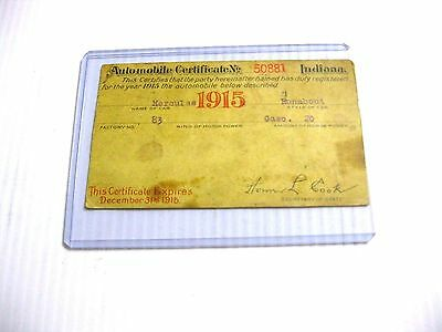 1915 Indiana Automobile Registration Certificate - Hercules Runabout Gaso. 20 Hp