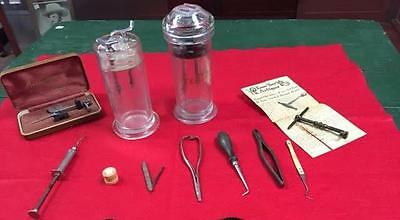Antique Lot of Dental Tools, Jars and Other Items! All 1 Money!