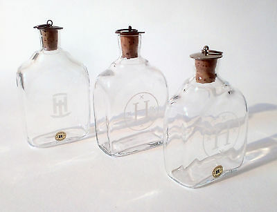 "70s Glas 3x Reijmyre Glasbruk ""Snaps"" Flasche carafe bottle glass verre Sweden"
