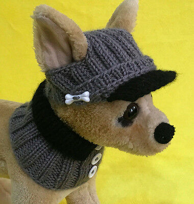 Pet Clothes Apparel Outfit Hand-Knit Visor Hat and Collar Scarf for Small Dog