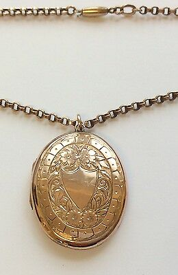 Pretty Antique Rose Gold Locket And 18 Inch Rolled Gold Chain