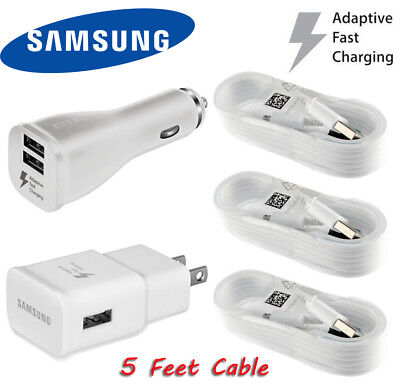 OEM Samsung Galaxy S6 S7 Edge Note4 5 Dual-Port Car+Wall Fast Charger 5Ft cable