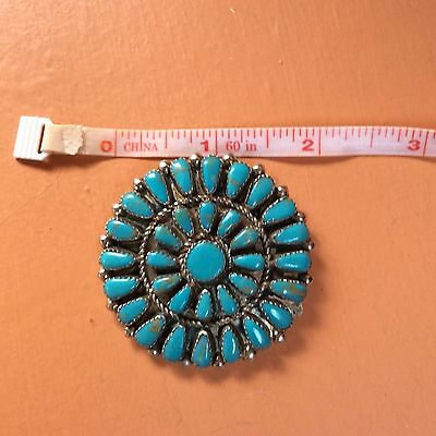 Vintage Zuni Petit Point 925 Sterling Silver & Turquoise pin brooch pendant!