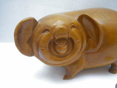Handcrafted Carved Wood Wooden Smiling Male Boar Pig Asian Figure Figurine