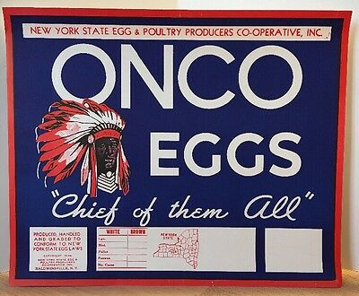 "Vintage - ONCO EGGS ""Chief of the All"" Paper Advertising Sign - New York"