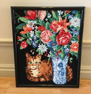 Needlepoint Cat Vase Flowers Counted Cross Stitch Completed Finished Framed
