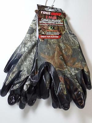 New 2 Pr Mossy Oak Camo Camouflage True Grip Nitrile Coated Hunting Gloves, X-Lg