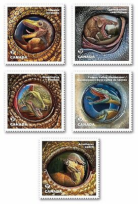 xca.DINOSAURS, Dinos OFFICIAL  DIE CUT Set of 5 booklet stamps, MNH Canada 2016