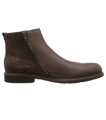 Mens ecco boots coffee brown size 42 (8-8.5) suede and leather with side zipper