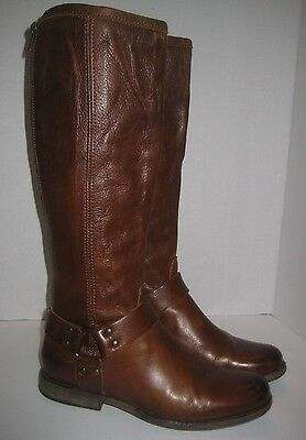 Frye Phillip Harness Tall Washed Leather Riding Boot Cognac Vintage Leather Sz 7