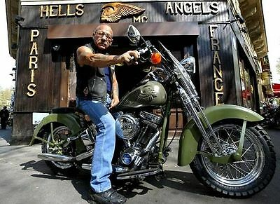 Hells Angels Boss Sonny Barger On His Personalized Bike 8.5x11 Amazing Photo