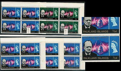 South Atlantic 1966 Churchill Variety Blocks Falkland Bat Ascension St Helena L2