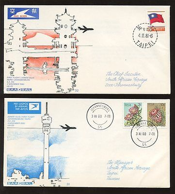 TAIWAN 1980 1st FLIGHT SOUTH AFRICA AIRWAYS OUT + RETURN 2 ILLUSTRATED COVERS L3