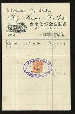 SCOTLAND 1924 CATTLE ILLUST.BILL..FRASER BROS BUTCHERS DINGWALL CANCEL on 2d..L2