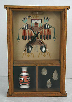 Navajo Sand Painting Clock with Mounted Display Arrowheads and Vase