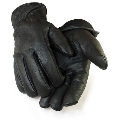 Deerskin Leather 3M Thinsulate Fleece Lined Black Winter Work Gloves Large