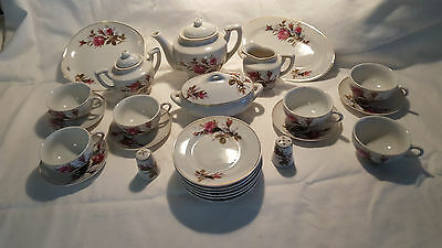 Vintage child's Japanese porcelain tea set, Moss Rose