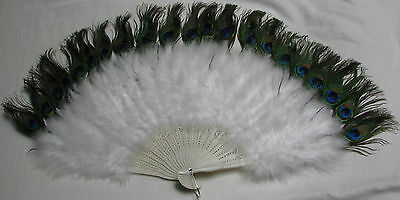 Zucker Feather  White Marabou Fan with Peacock Plastic Staves Free Shipping