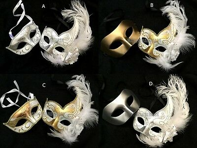 Snow White Dress Feather Masquerade ball mask pair Bridal Wedding Costume Party