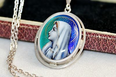RARE Victorian vintag Sterling Guilloche enamel religious medal pendant necklace