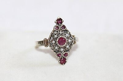 ART DECO Vintage STERLING Silver Genuine RUBY & SEED PEARL Cocktail Ring SZ 6.75