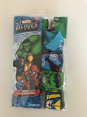 Boys Briefs Size 4 Avengers Super Heroes 5 Pair New Underwear FREE SHIPING