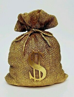 Burlap Style Money Bag Bank Figurine Home Decor