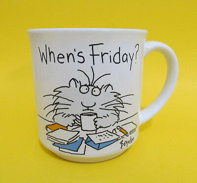 Sandra Boynton CoffeeTea Mug Cup WHEN'S FRIDAY Fluffy Cat Office Work Vintage