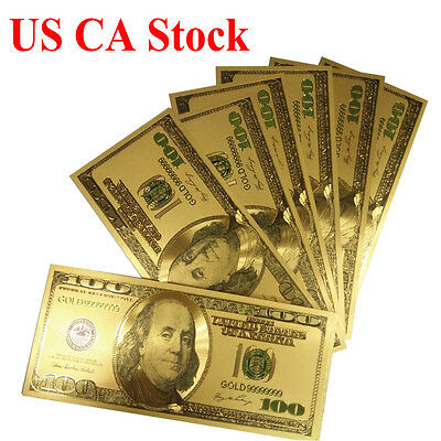 500pcs Novelty Gold Plated Color money US Older Version 100Dollar Banknote bills