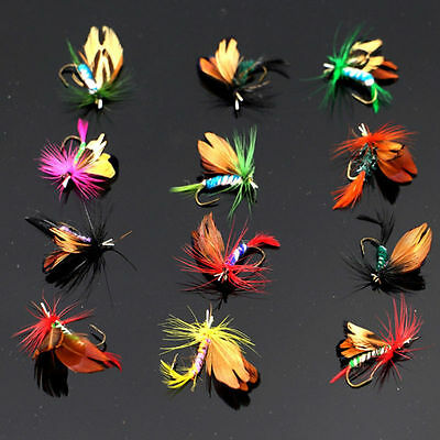 12pcs Fly Fishing Flies Assortment Trout Fly Fishing Flies Wet Dry Flies Lures##