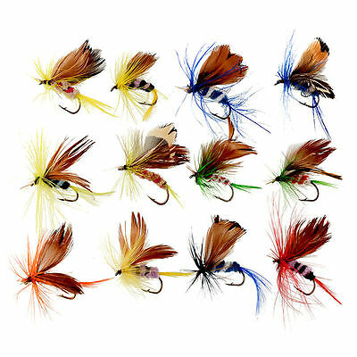 Cheap!! 12Pcs Wet Dry Trout Flies Fly Fishing Bass Lure Hook Stream Tackle 20mm