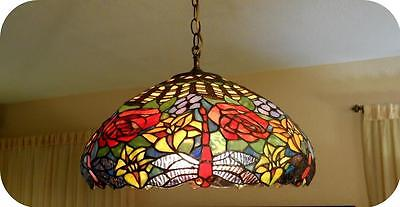 Vtg Tiffany Style Stained Glass Dragonfly With Red Roses, Flowers Chandelier