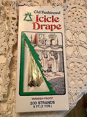 VINTAGE NOS Box Of A Gold ICICLE TINSEL STRANDS~NICE!