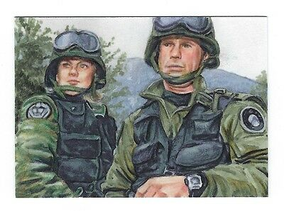 Stargate SG-1 - ACEO -Jack & Samantha Sketch Card - Chris Henderson - Hand Drawn