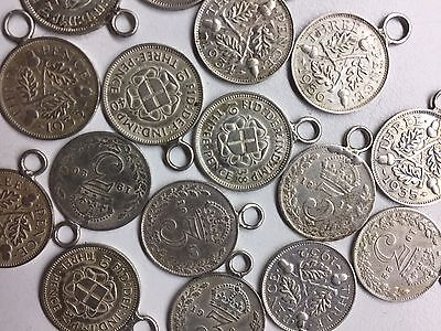 SILVER 3 Pence Coin Pendents-qty 13
