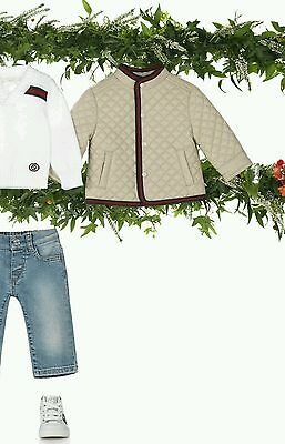 NWT NEW Gucci baby boys girls beige quilted jacket red green 0/3 18/24m 305337