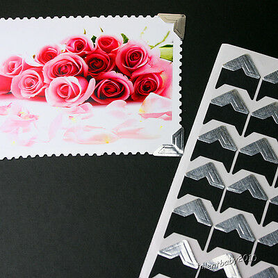 2x24 PCs Self-Adhesive Photo Corner Stickers/Scrapbooking/Wedding/Vintage Silver