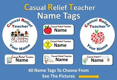 Choose a Casual Relief Teacher (CRT) Name Tag Pin Back Badge (58mm)