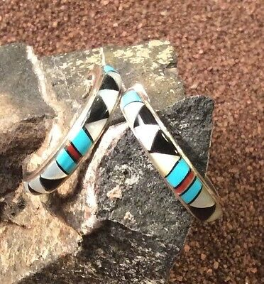 Native American Hoop Earrings Sterling Silver Turquoise, Mother of Pearl Inlaid