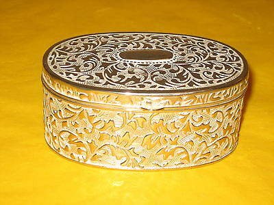 "Vintage Silver Plated&engraved Trinket Box Tall 1.5"", Wide 2.25"", Long 3.5"""