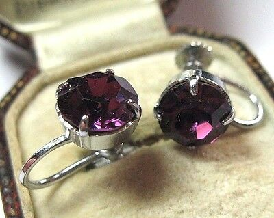 Antique Vintage Art Deco Jewellery Amethyst Crystal Rhinestone Screw Earrings