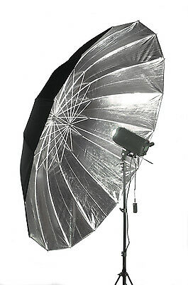 "Studio Umbrella Silver/Black Parabolic Type 74/85"" 188/215cm (diameter/arc)"