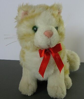 Striped Tiger Kitty Cat Soft Stuffed Toy Doll with Red Bow Ribbon