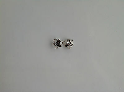 6 Bali Sterling Silver Bead Caps with Wire & Granulation Ornaments 4.6x9mm (28)