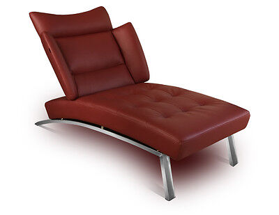 Modern leather Chaiselongue Daybed Recamiere.Real leather wine red (bordeaux)