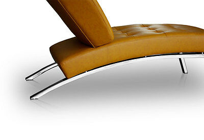 Modern leather Chaiselongue Daybed Recamiere. Real leather tan brown (Cognac)